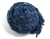 Chunky Scarf Knitted in Tweed Blue Acrylic Wool Blend Yarn