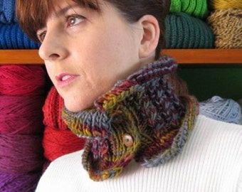 Ochre Burgundy Wool Chunky Knit Cowl, Neck Warmer, Short Buttoned Scarf, Pure Wool Hand Knit Womens Cables Knit Cowl Scarf, Winter SALE