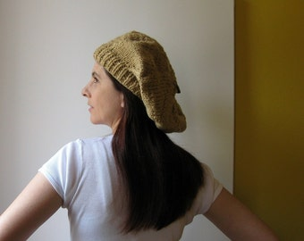 French Beret Ochre Wool, Tam O Shanter, Slouchy Womens Winter Chunky Knit Cute Hand Knit Hat, Womens Knit Beret, Gifts For Her Gifts For Mom
