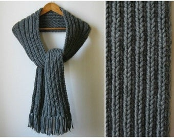 Dark Gray Scarf, Chunky Knit Scarf, Long Scarf, Scarf with Fringes, Mens Scarf, Womens Scarves, Winter Scarf, Wool Scarf, Wrap Scarf
