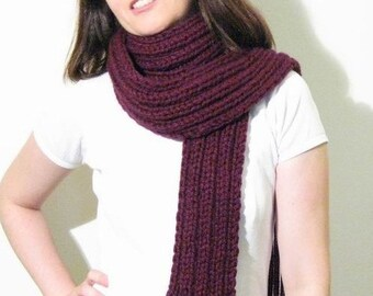 Burgundy Wool Chunky Knit Scarf, Long Winter Hand Knit Scarf with Fringes, Neck Warmer, Mens Cute Scarf, Wrap Scarf, Womens Scarves, Muffler