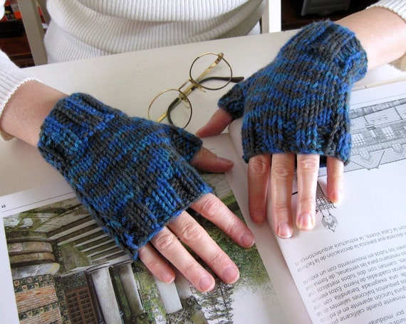 Fingerless Gloves - Blue and Gray