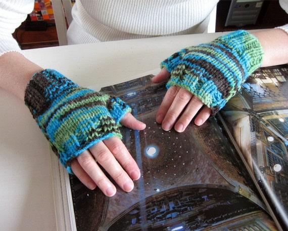 Robin Egg Blue, Green and Brown Fingerless Gloves