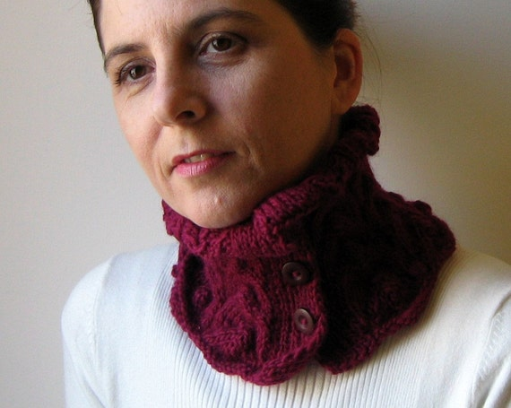 Lace Collar, Wool Knit Cowl Neck Warmer, Winter Short Burgundy Scarf, Womens Scarves, Hand Knit Cowl, Button Scarf, Gift Under 20, SALE
