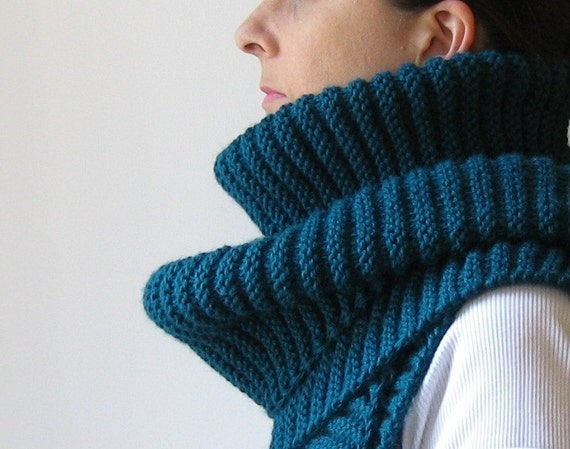 Long Scarf Knitted in Teal Blue