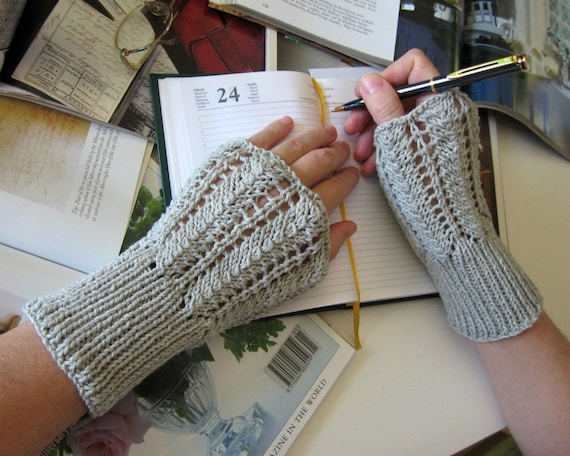 Lace Arm Warmers Light Gray Hand Knitted