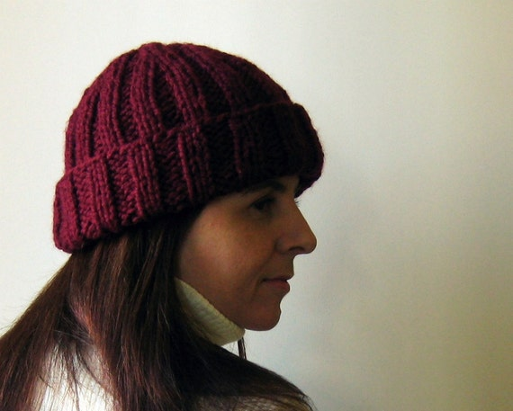 Bordeaux Fisherman Hat Hand Knitted