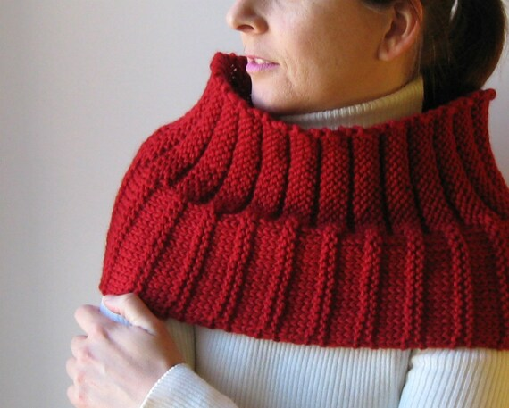 Red Merino Wool Hand Knit Welted Cowl, Women High Neck Warmer, Winter Scarf, Mens, Chunky Knit, Warm, Fashion, Circular Scarf, Red Muffler