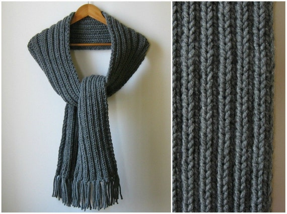 Dark Gray Chunky Knit Long Scarf, Scarf with Fringes, Mens, Womens Scarves, Winter, Wool, Wrap, Hand Knit Scarf, Cute Thick Scarf, SALE