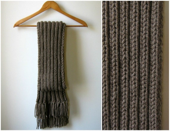Coffee Brown Scarf, Chunky Knit Scarf, Scarf With Fringes, Wool Knit Scarf, Hand Knitted Scarf, Mens Scarf, Winter Scarf, Handmade Scarf