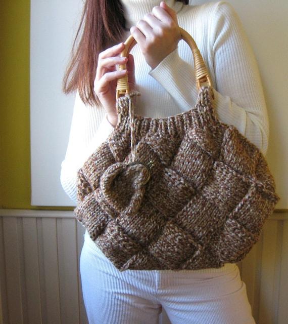 Purse Knitted in Tweed Brown Acrylic Wool Blend Yarn
