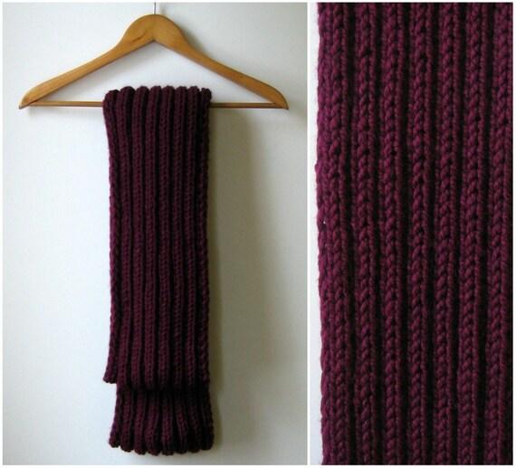 Circular Scarf Knitted in Burgundy Acrylic Wool Blend Yarn