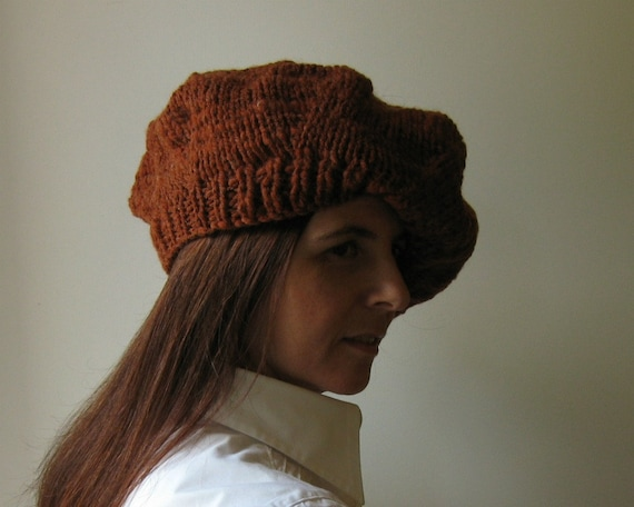 Rusty Brown Beret, French Beret, Winter Hat, Womens Hats, Hand Knit Hat, Slouchy Hat, Wool Beret, Cute Hats, Tam O Shanter, Chunky Knit Hat