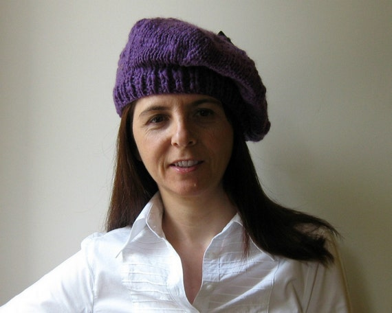 Purple Beret Knitted in Soft Blend Wool
