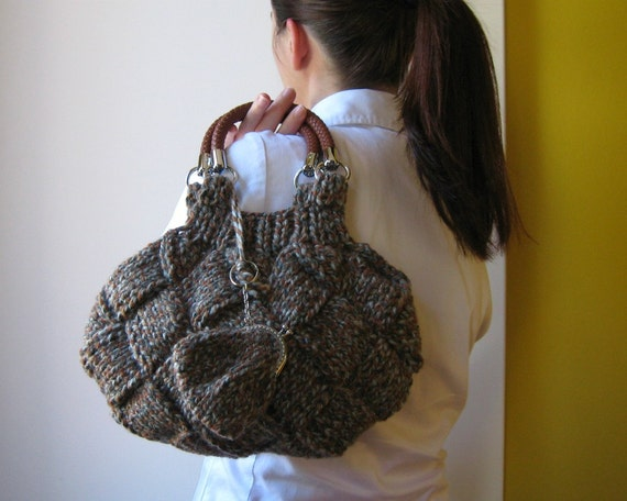 handbag marbled gray and brown - knitted in blend wool with leather handles