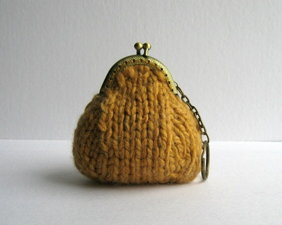 ochre coin purse with key chain - knitted in acrylic wool blend yarn