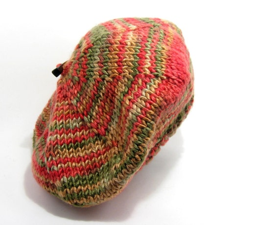SALE - Tam Knitted in Variegated Red and Green