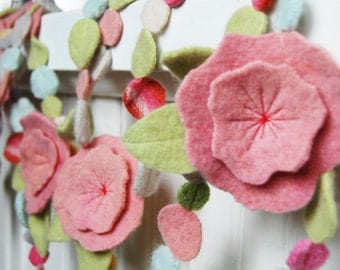 pastel pink flower garland from upcycled felt 8 feet