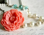 Asymmetrical Coral Poppy Necklace
