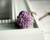 Lavender Chrysanthemum Locket Necklace