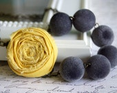 Asymmetrical Yellow and Gray Rosette Necklace Buy 3 Get 1 Free