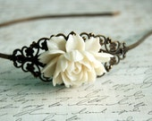 Lace White Rose Headband