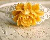 Yellow and White Rose Headband
