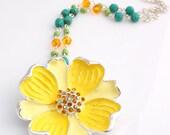 CLEARANCE SALE Yellow Enamel Flower Necklace