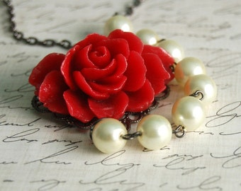 Reserved for knoxberries CLEARANCE SALE Asymmetrical Crimson Rose Necklace