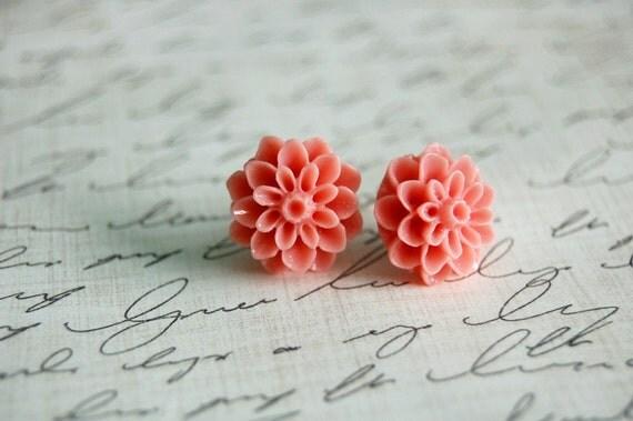 Pink Dahlia Earrings Buy 3 Get 1 Free