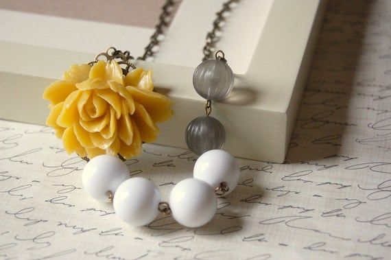 Asymmetrical Yellow Gray and White Rose Necklace Buy 3 Get 1 Free