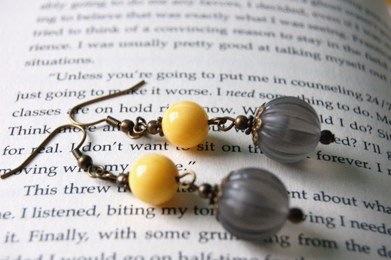 Gray and Yellow Bauble Earrings
