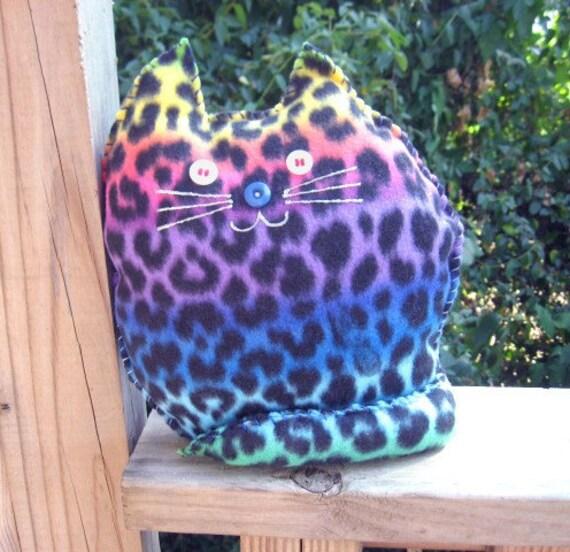 Rainbow Leopard Pillow Cat