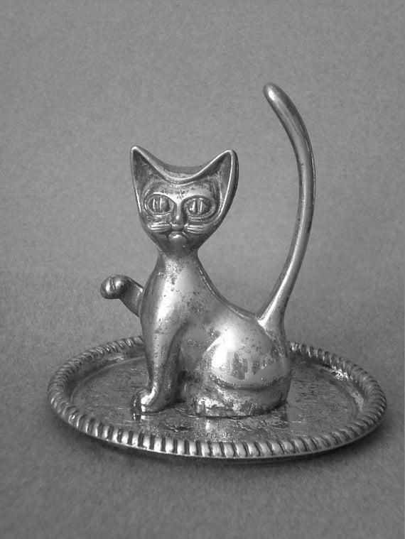 vintage silver metal cat ring holder by pattispolkadots on