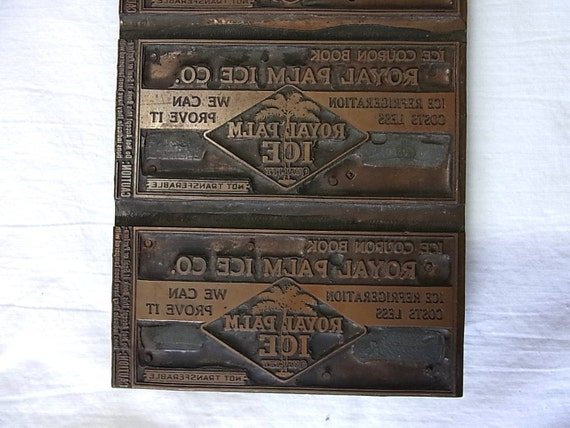 Large Antique Copper Wood Printing Block for Ice Company