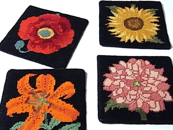 Set 4 Vintage Needlepoint Flower Coasters