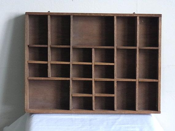 Vintage Wood Shadowbox Organizer Wall Hanging 22 Compartments