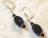 Tara Ashley - NEW - Black Glass Faceted Dangle Earrings