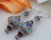 Tara Ashley - Dangle Earrings - Gorgoeous Boro Artisan Beads - Amber, Lavendar - FREE SHIPPING