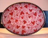 Jada Belt Buckle - Love You Hearts - Oval Wearable Art for Valentine's Day