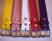 Color Diversity Belts for Belt Buckles, Bonded Leather Snap Belt with FREE Plain Buckle - Yellow, Light Pink, White, Hot Pink, or Purple