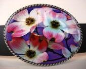 Jada Belt Buckle - Purple Petal Power - Oval Wearable Art