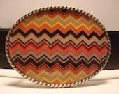 Zigzag Brown Belt Buckle - Oval Wearable Art