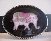Belt Buckle - Pink Elephants - Oval Wearable Art