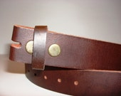 Belt for Belt Buckle, Distressed Vintage Italian Leather Snap Belt - BROWN