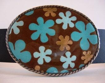 Color Snow Petals Jada Oval Belt Buckle - Wearable Art