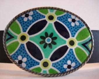 Jada Belt Buckle - Daisy Chain - Oval Wearable Art