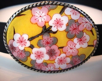 Yellow Sakura Belt Buckle