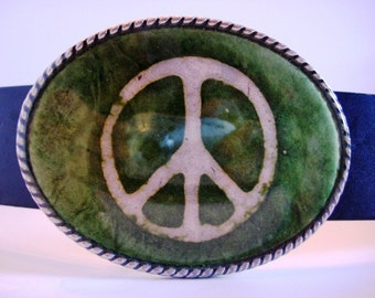 Peace Belt Buckle - Handcrafted Green Peace