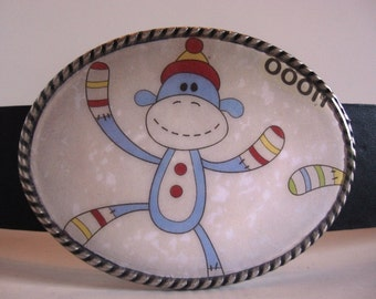 Sock Monkey Belt Buckle, fun wearable art